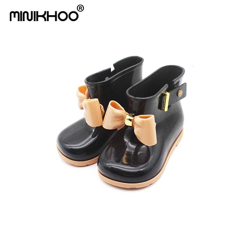 Mini Melissa Bow Rain Boots 2017 Jelly Boots Water Shoes Children Cute Bow Princess Child Boots High Quality EUR 24-29 Melissa
