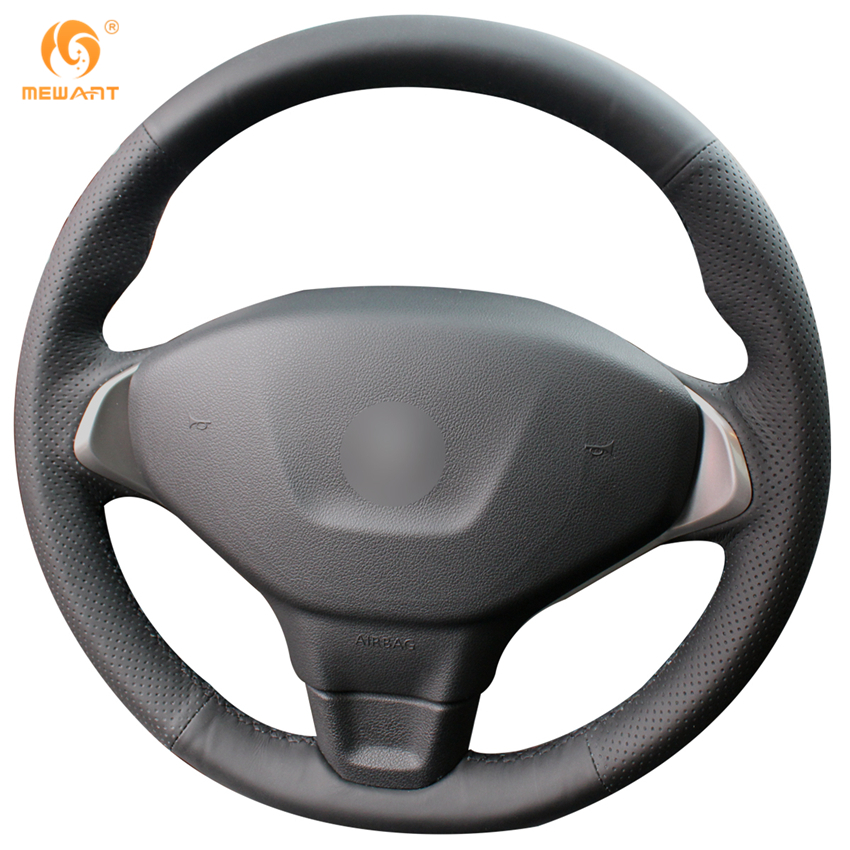 MEWANT Black Genuine Leather Car Steering Wheel Cover for Peugeot 301 car styling cowl leather steering wheel cover for lexus nx200t nx300h is250 ct200h is200t
