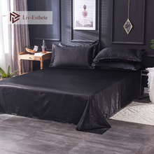 Liv-Esthete 2019 Hot Sale Wholesale Luxury 100% Satin Silk Black 1PCS Flat Sheet Silky Queen King Bed Sheets For Women Men