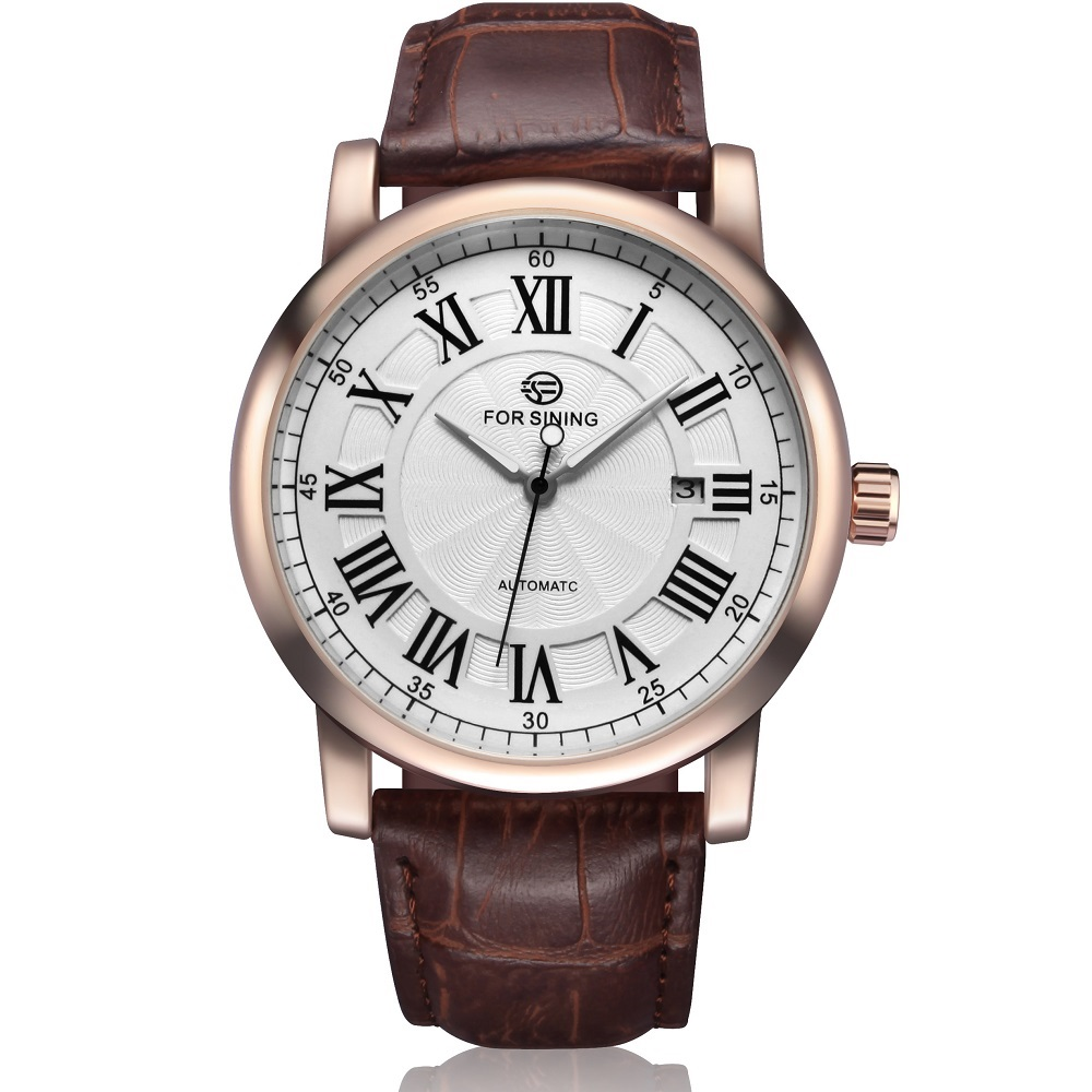 Forsining Men Automatic Watches Luxury Brand Male Business Dress Watch Vintage Roman Numerals Dial Leather Band Relojes Hombres forsining date display automatic mechanical watch men business leather band watches modern gift dress classic analog clock box