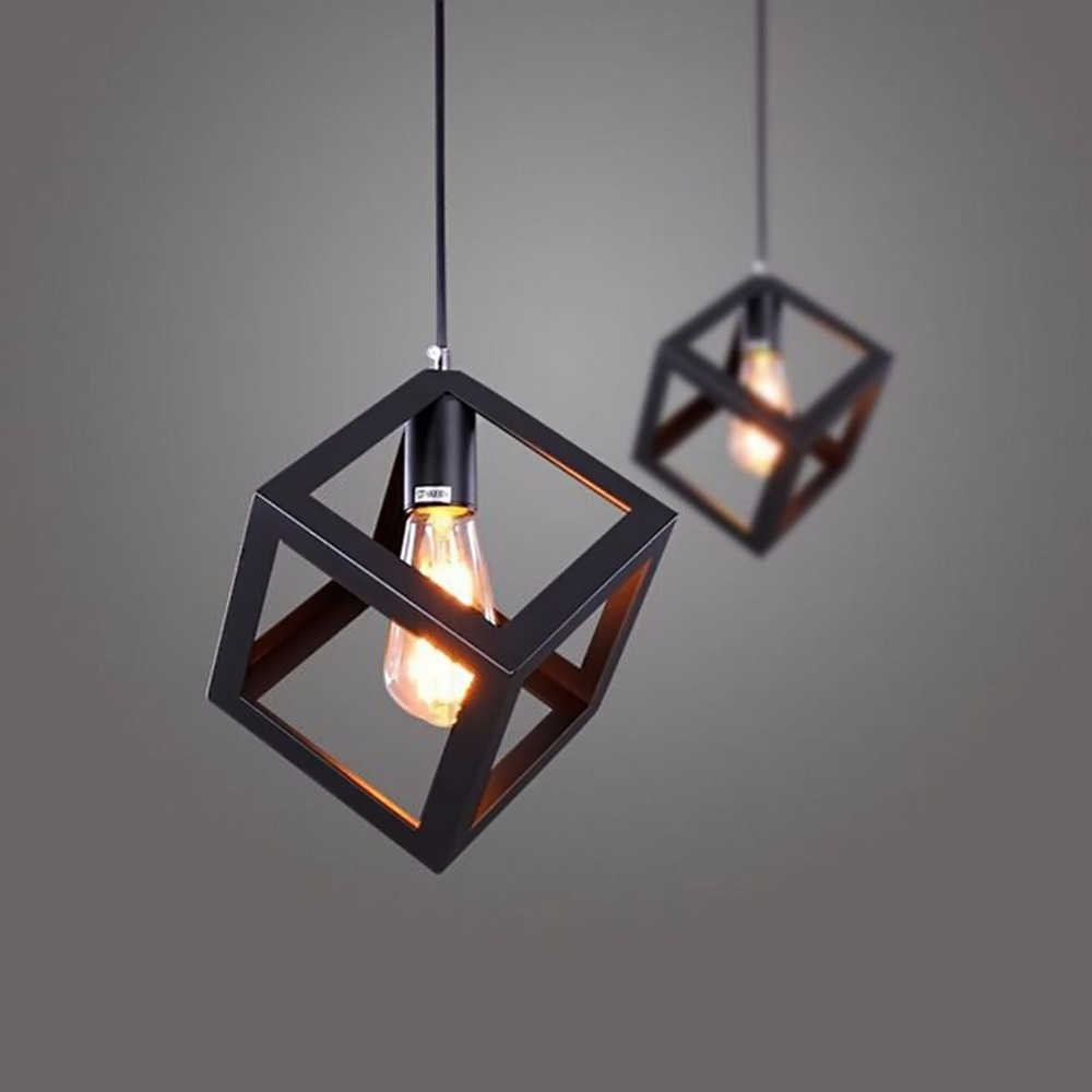 Nordic Style Vintage Retro Pendant Lights LED Pendant Lamp Metal Cube Cage Lampshade Lighting Hanging Light Fixture for Home Dec