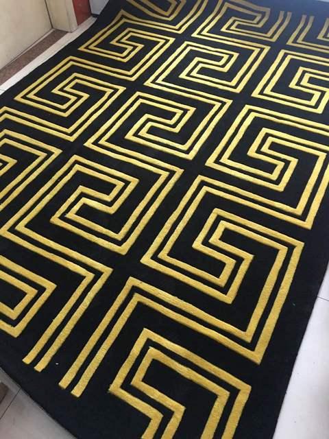 Schwarz Und Gold Acryl Teppich Alfombras Moderne Handgefertigte
