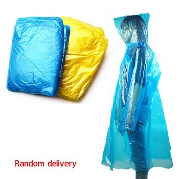 1 pcs Disposable Raincoat Adult Emergency Waterproof Hood Poncho Travel Camping Must Rain Coat Unisex Random Color 1