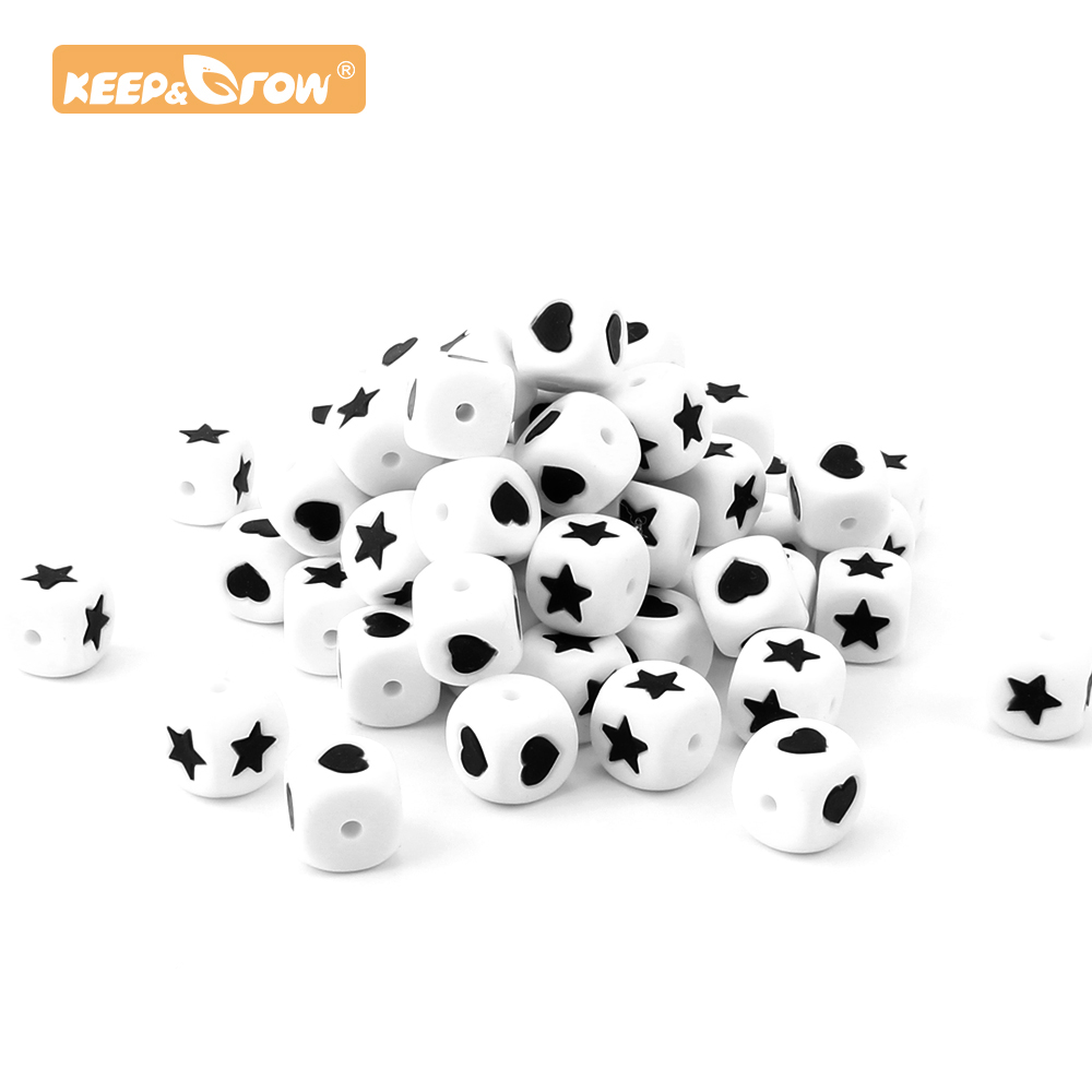 Keep&Grow 10pcs 12mm Silicone Beads Star Love Letter  Food Grade Silicone Beads Baby Teether DIY Pacifier Pendant Jewelry Making