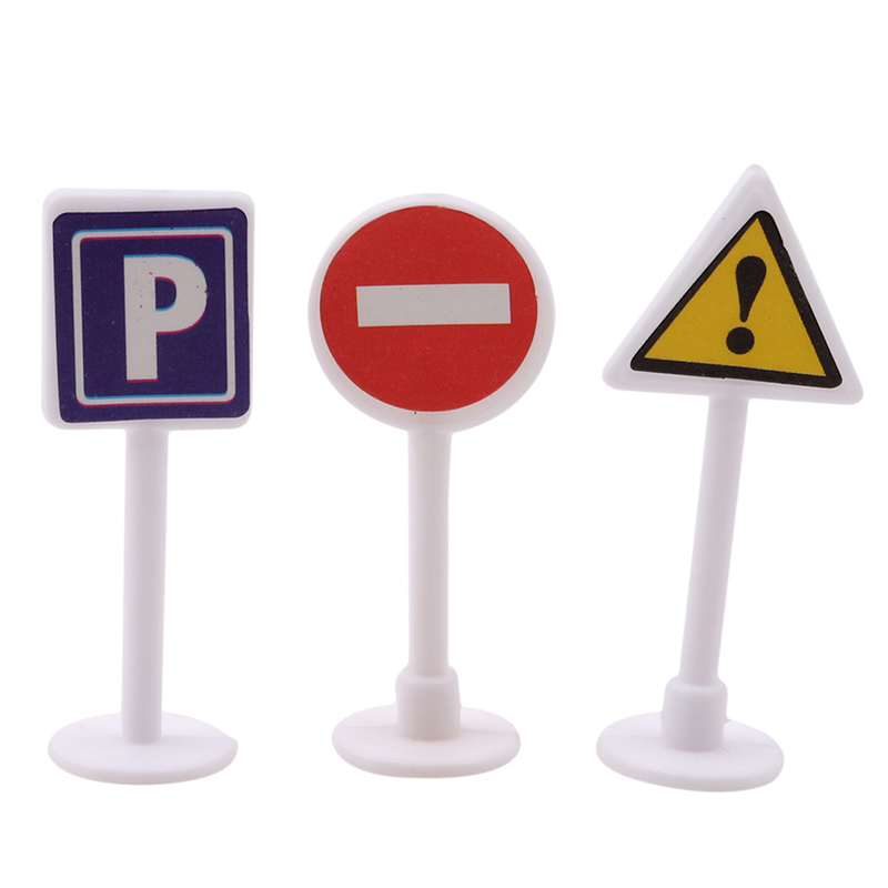 9Pcs/set DIY Mini Traffic Signpost Scene Educational Toys For Children Traffic Signage Model Toy Gift For Infant Boys Girls