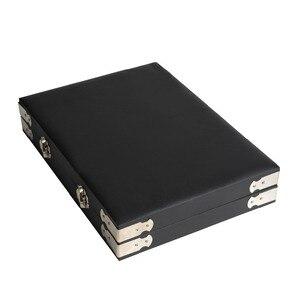 Image 4 - באיכות גבוהה שחור עור חן נסיעות יהלום תיבת אחסון מקרה תכשיטי מחזיק 2.8cm 70pcs,4cm 48pcs בתוך פנינה תיבת Protable
