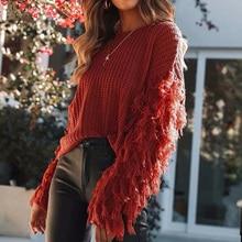12736b809 2019 otoño Jersey tire O cuello borla suéter de punto de mujer, suéter  Casual suelto