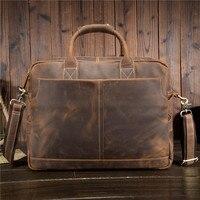 Special Offer! Luxury Natural Crazy Horse Leather Men's Handbag Big 15 Laptop Bag Vintage Genuine Leather Men Briefcase