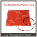 RepRap mendel PCB Heatbed MK2B com led e Resistor e cabo para impressoras 3D Mendel cama quente 3d printer parts
