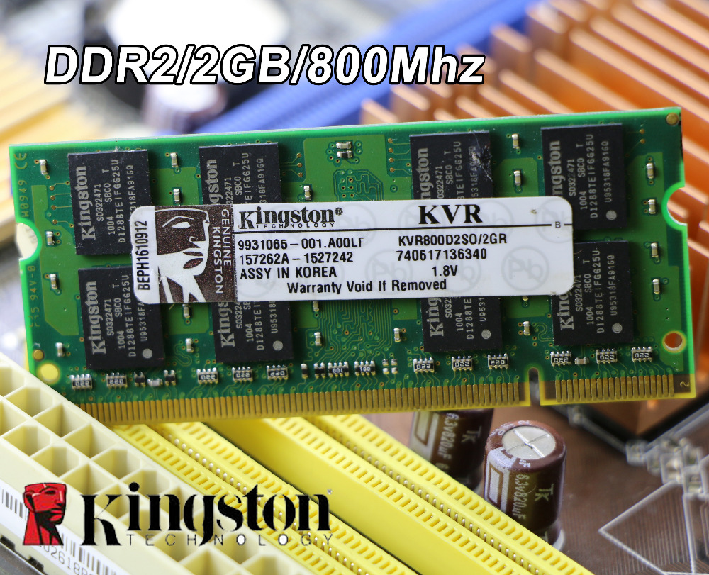 Original de Kingston DDR2 2 GB 800 MHz 800 PC2-6400 DDR 2 2G portátil memoria portátil RAM 200PIN SODIMM para intel para amd