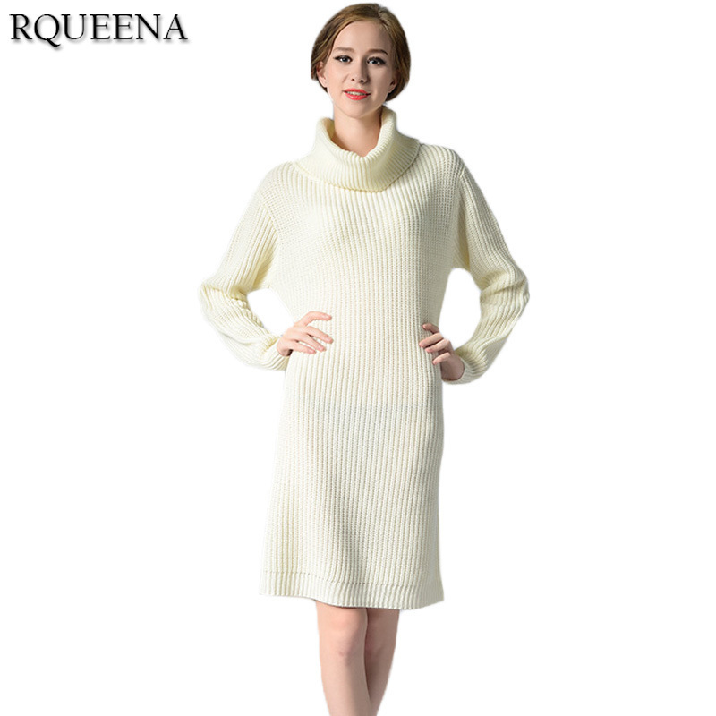 Women Fashion Clothes Autumn Sweater Knitted Dress Long Sleeve Turtleneck Loose Thick Women Long Knitted Patchwork Sweater Dress hmchime 2017 autumn women high elastic knitted dress fashion sexy patchwork round collar long sleeve woman sweater dress hm703