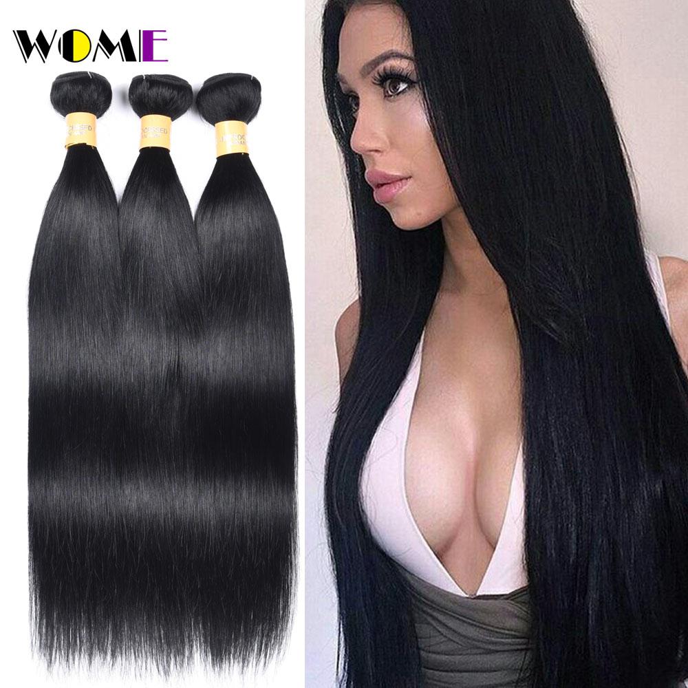 Wome Pre Colored Malaysian Straight Hair Bundles 1# Jet Black Human Hair Weave 3 Bundles Non Remy Jet Black Human Hair Bundles