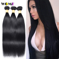 Wome Pre Colored Malaysian Straight Hair Bundles 1# Jet Black Human Hair Weave 3 Bundles Non Remy Jet Black Human Hair Bundles