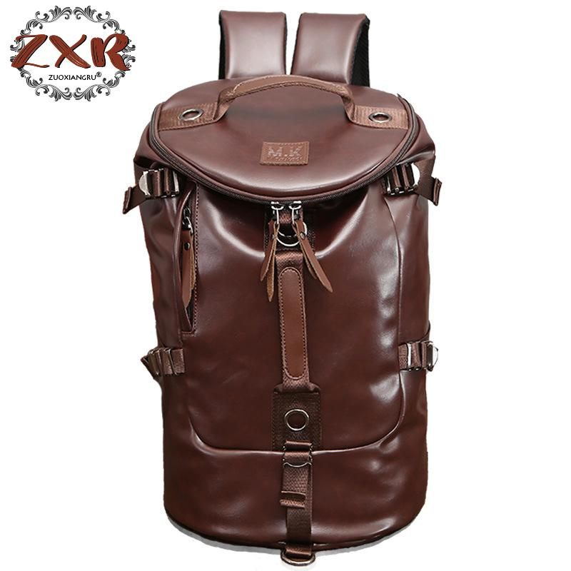 New Men Travel Bags Backpack Large Bucket Shape PU Leather P