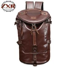 New Men Travel Bags Backpack Large Bucket Shape PU Leather Portable Handbag Men