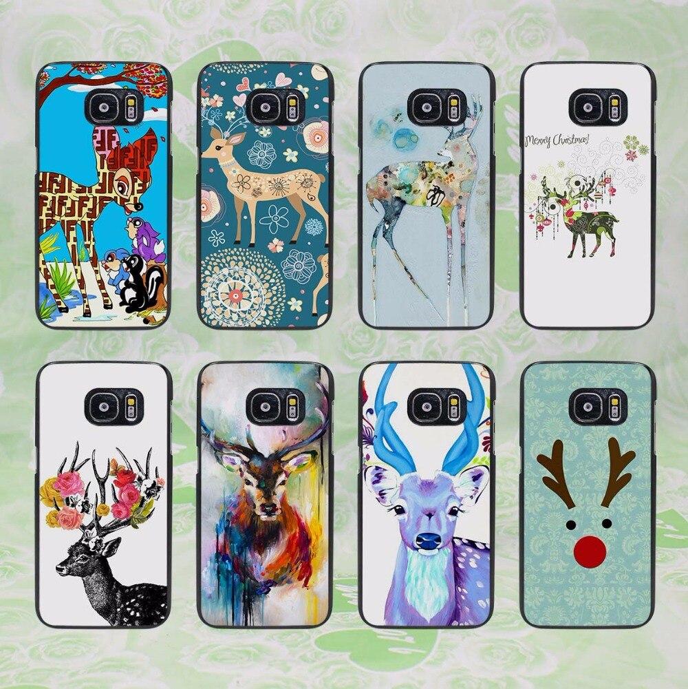 Beautiful Christmas deer flower deer (1) design hard black phone Case Cover for samsung galaxy s8 s8 plus s7 s6 edge j3 j5 2016