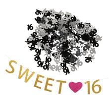 Dulce 16 corazón 16th confeti cumpleaños Banner guirnalda accesorios de decoración para fiestas