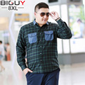 BIG GUY 3xl-8xl Plus Size Men's Shirt 2017 Spring Long Sleeve Green Plaid Shirt Men Oversized Casual Fat Male Clothing 1412 PZ3