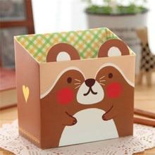 Free shipping ! Cute Cat Cartoon Paper Stationery Makeup Cosmetic Desk Organizer Storage Box