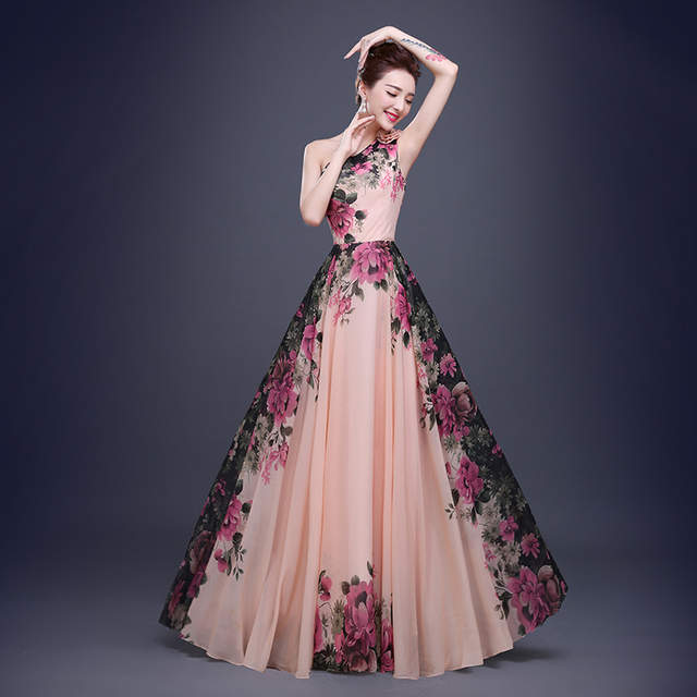 d76645a4e08 placeholder Floral Printed One Shoulder Sleeveless Chiffon A-Line Formal  Evening Dress Long Floor-Length