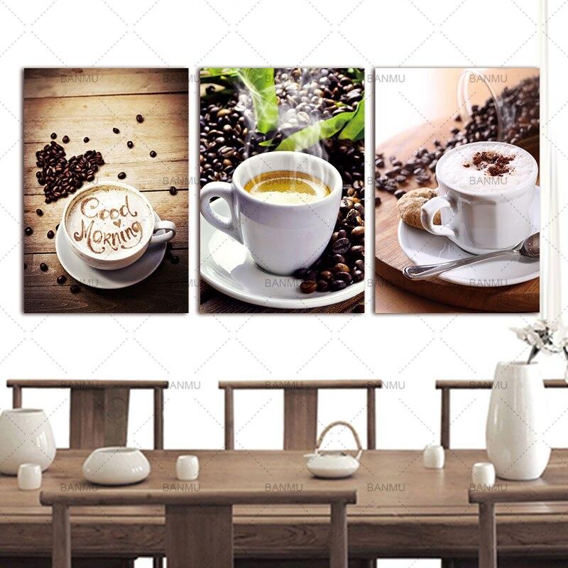 Wanddecoratie Canvas Keuken.Us 4 16 51 Off Wall Art Foto Canvas Schilderijen 3 Panelen Wanddecoratie Canvas Foto Prints Moderne Keuken Scene Koffie Op Canvas Geen Frame In