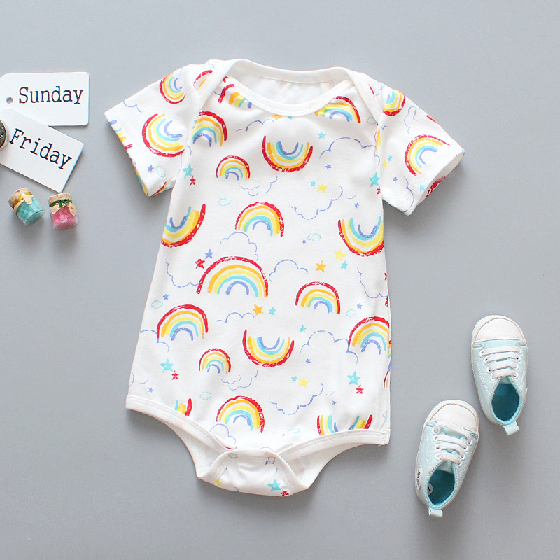 Dropshipping Infant Pajamas Fashion Baby Summer   Romper   Short Sleeve Cotton Rainbow Newborn Pajamas Toddler Babe Clothes Suit