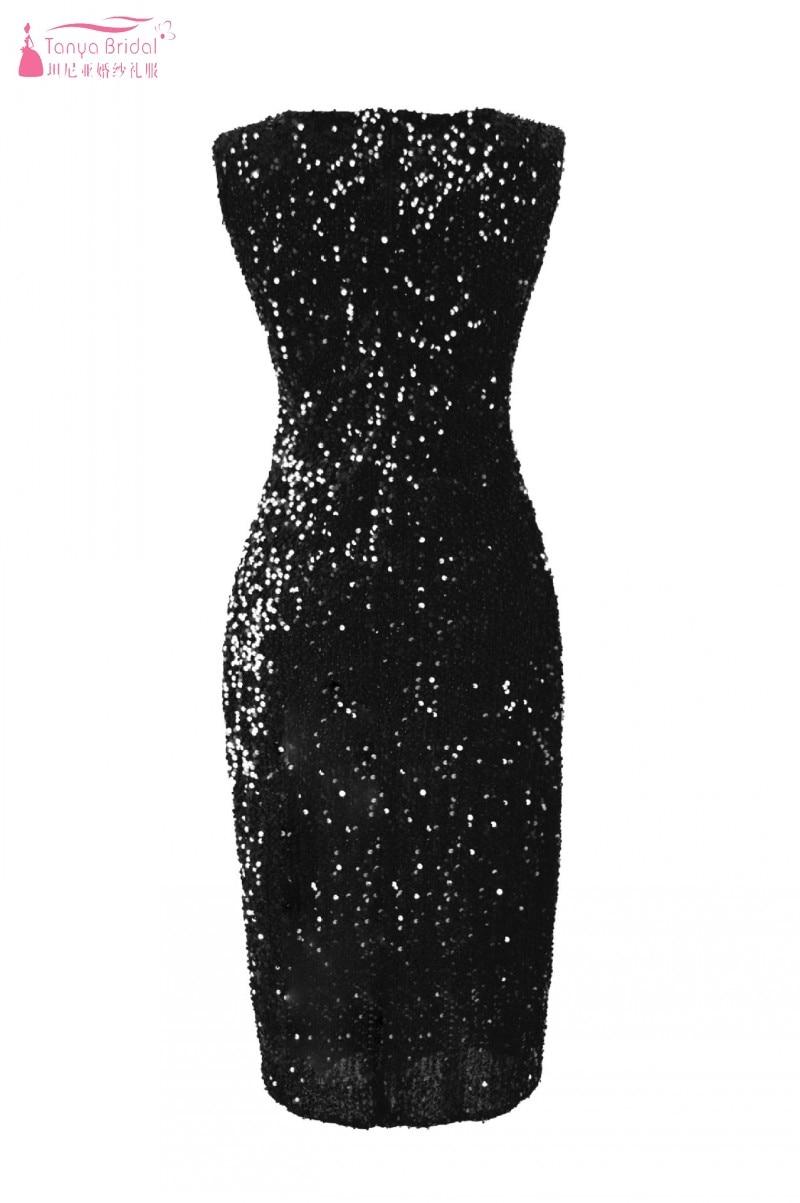 Коктейльные платья длиной до колена без рукавов; цвет синий, бордовый, черный; вечерние платья с блестками; сексуальное платье с разрезом сбоку для выпускного вечера; DQG733 - Цвет: Черный