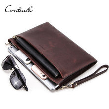 "CONTACT'S Genuine Leather men day Clutches hand strap Metal zip long Envelope pouch casual male wristlet handbag for 7.9"" ipad(China)"