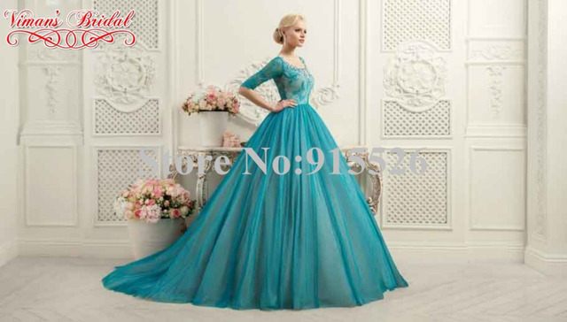 2015 Viman\'s Bridal Peach Colored Wedding Dresses Appliques Lace ...