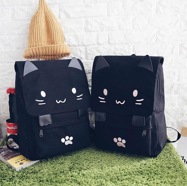Kawaii Black Kitty Canvas Backpack