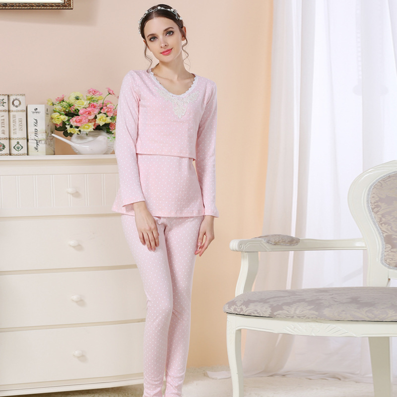 Maternity Nuring Nightwear Cotton Maternity Long Sleeve Maternity Sleepwear For Pregnant Woman Pajamas Suit For Breastfeeding cotton materinty nursing pajamas long sleeve pijamalar hamile plaid pajamas set maternity sleepwear for pregnant women 50m084