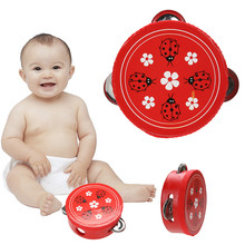 Educational Cartoon Wooden Baby Hand Drum Toys Musical Tambourine Beat Instrument Handbell Good Gift