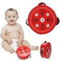 Educativos de madera de dibujos animados tambor de mano del bebé handbell toys musical pandereta batir instrumento buen regalo