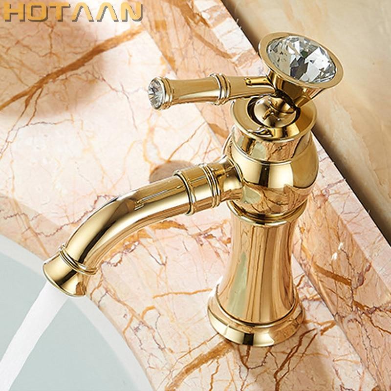 O Envio gratuito de Nova chegada Do Banheiro ouro Torneira Da Bacia de Ouro finish Latão Mixer Tap com cerâmica torneiras para banheiro YT-5027