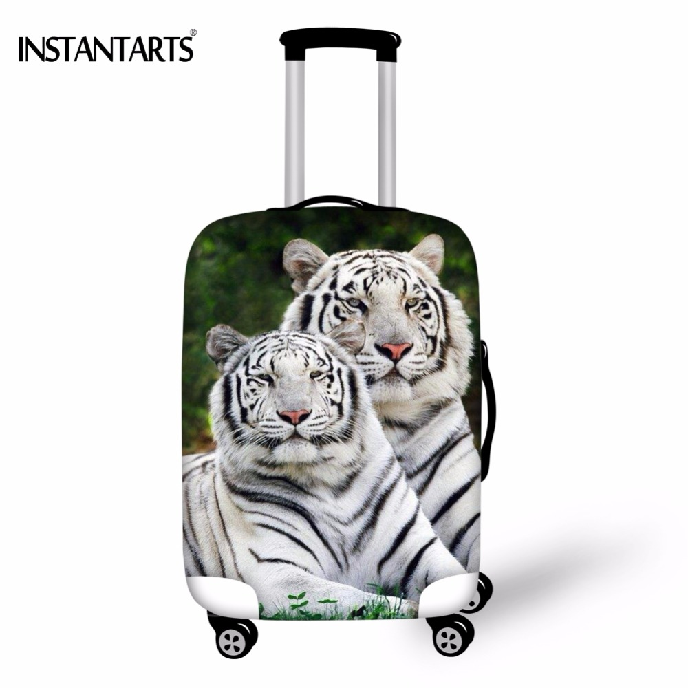 INSTANTARTS Waterproof Luggage Protect Covers For 18-30 Inch Suitcase Cool 3D Bengal White Tiger Pattern Elastic Dust Rain Cover