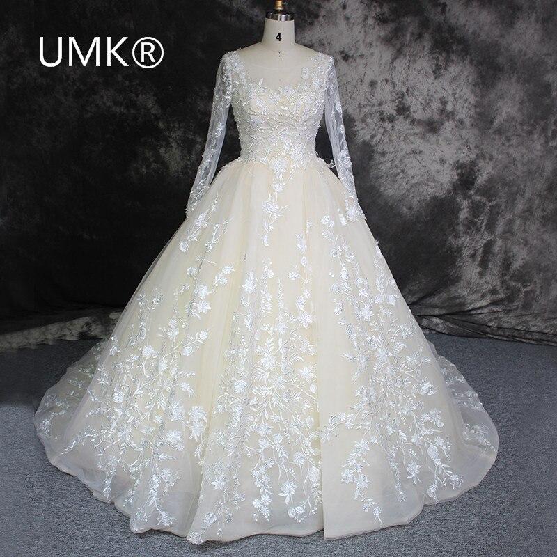 Vestido de noiva 2017 champagne lace long sleeve muslim for Aliexpress wedding dresses 2017