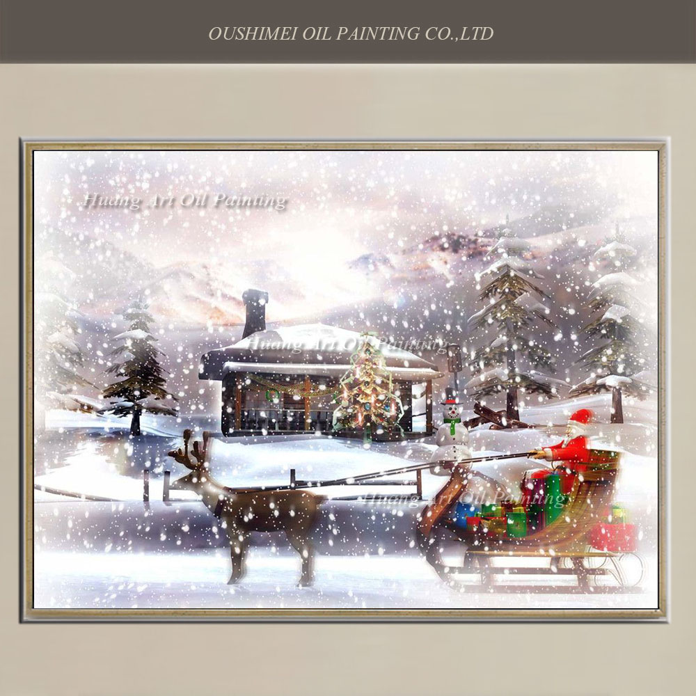 Hand Painted Painting on Canvas Modern Santa Claus Ride Deer Snow Landscape Oil Painting Art for Christmas Decoration Gift