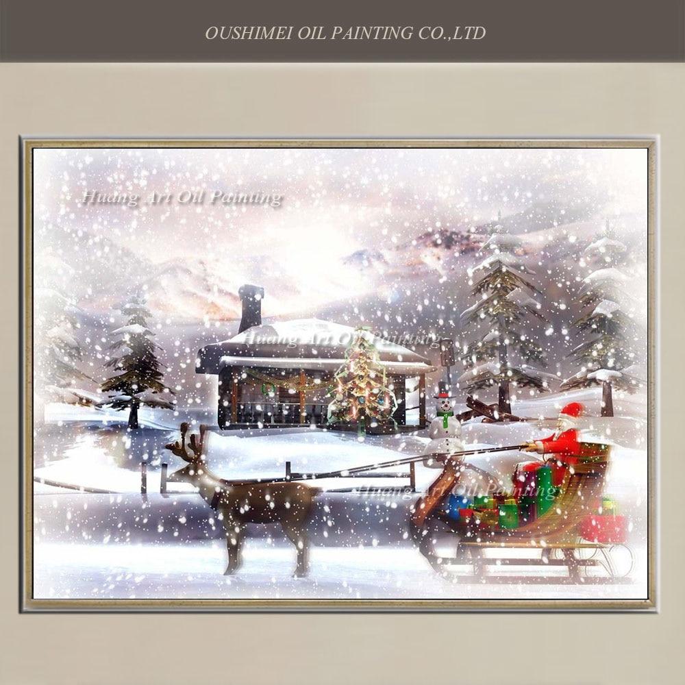 Handgeschilderde Schilderen op Canvas Moderne Kerstman Rit Herten Sneeuw Landschap Olieverf Art voor Decoratie Gift