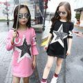Camisetas longas Para Meninas Vestidos Roupa Das Crianças 4 Estrela Impressão Meninas Tees camisas 6 Crianças Plena Manga Roupas 8 9 Tops 10 12 Anos