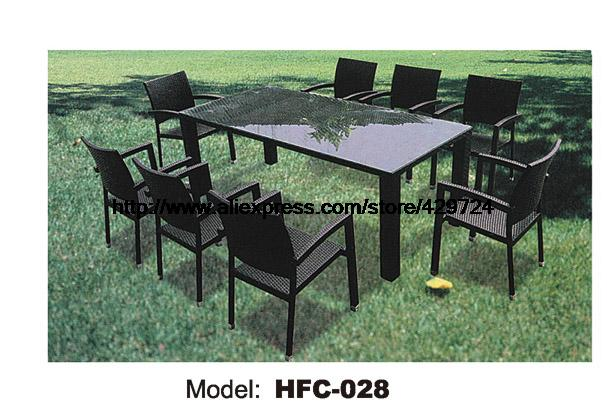 Classic Rattan Chair Leisure Outdoor Table Chairs Combination Balcony Garden Furniture Factory Price Promotion 9 PCS HFC-028