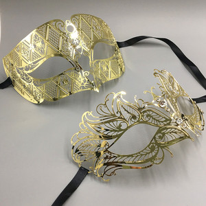 Image 5 - Luxury Silver Men Women Lovers Couple Venetian Party Masks Black Metal Laser cut XMAS Costume Shows Wedding Masquerade Mask Set