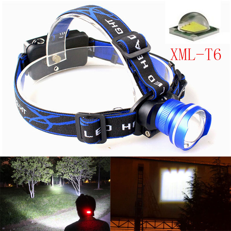 Zoomable 2500LM Headlight T6 LED Headlamp 18650 Battery Powered Head Lamp Torch LED Flashlights Torch for Hunting Fishing