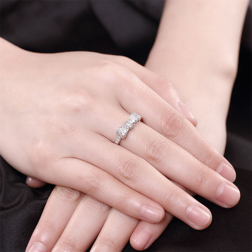 OLOEY Finger Rings 2018 Genuine 100% 925 Sterling Silver Bow Knot ...