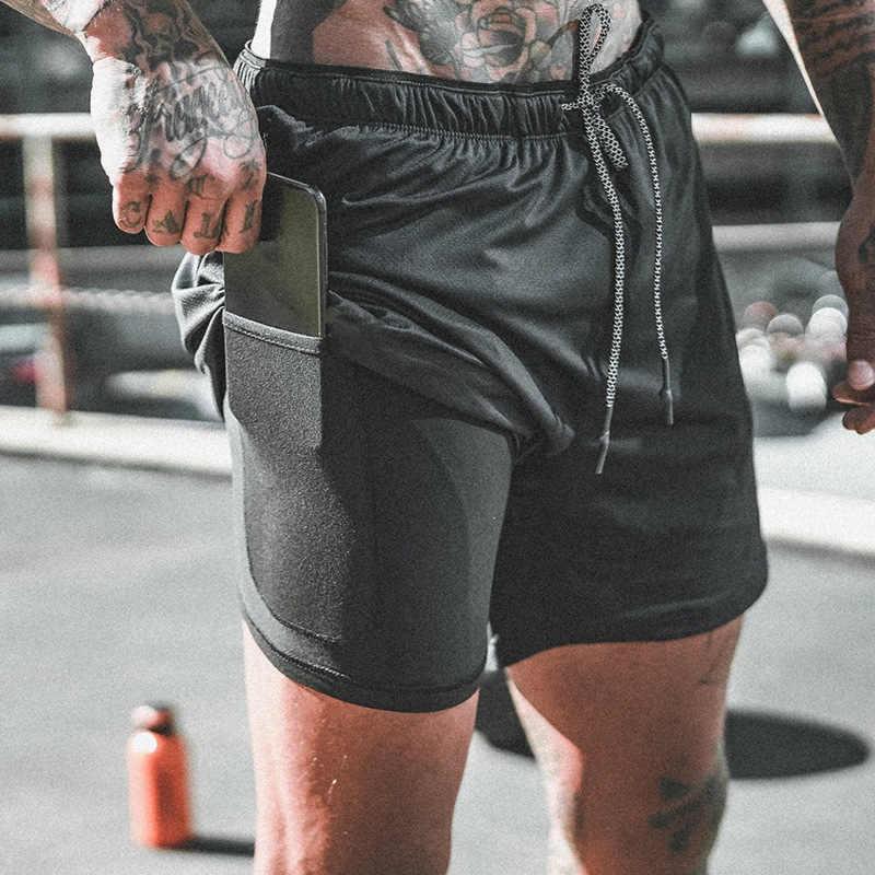 Summer Quick Drying Running Shorts Men 2 in 1 Security Pocket Shorts Men Leisure Shorts Hips Hide Zipper Pocket Built-in Pockets