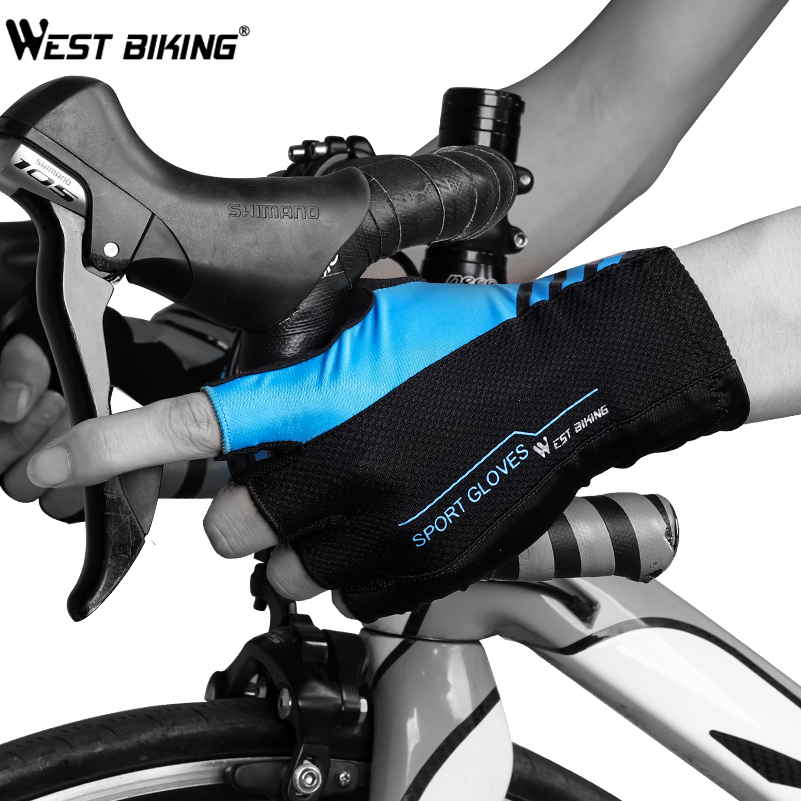 WEST BIKING Summer Cycling Gloves For Men Sport MTB Mountain Gloves Half Finger Breathable Women Bicycle Gloves S-XL 4 Colors