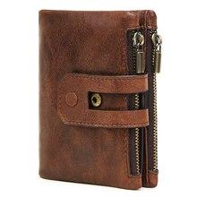 JOYIR Genuine Leather Men Wallet Vintage RFID Short Coin Purse Solid Zipper&Hasp Card ID Holder Multifunctional Wallet Carteras