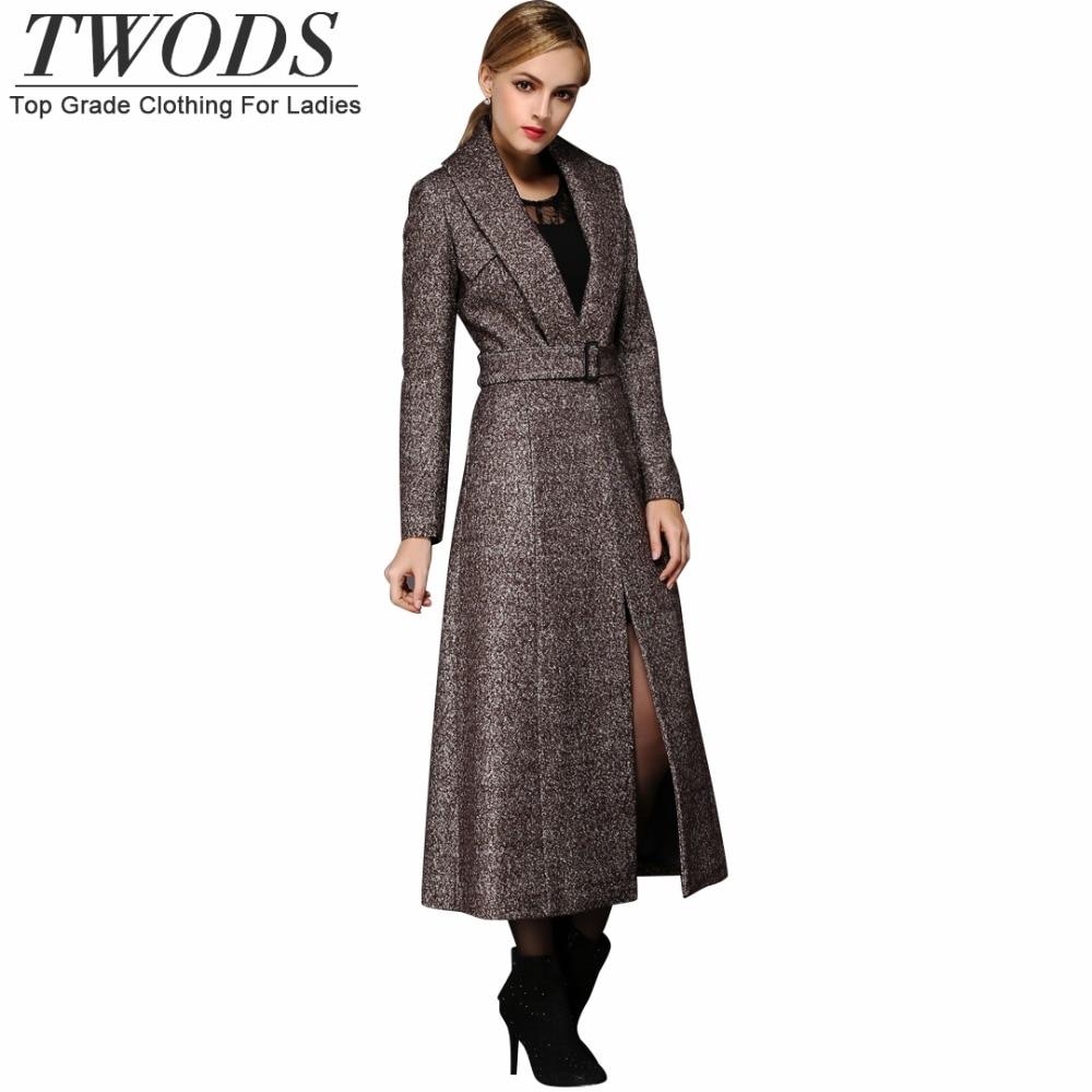 Twods XS 4XL Winter Brown Wool Coats For Women Petite V neck Maxi ...