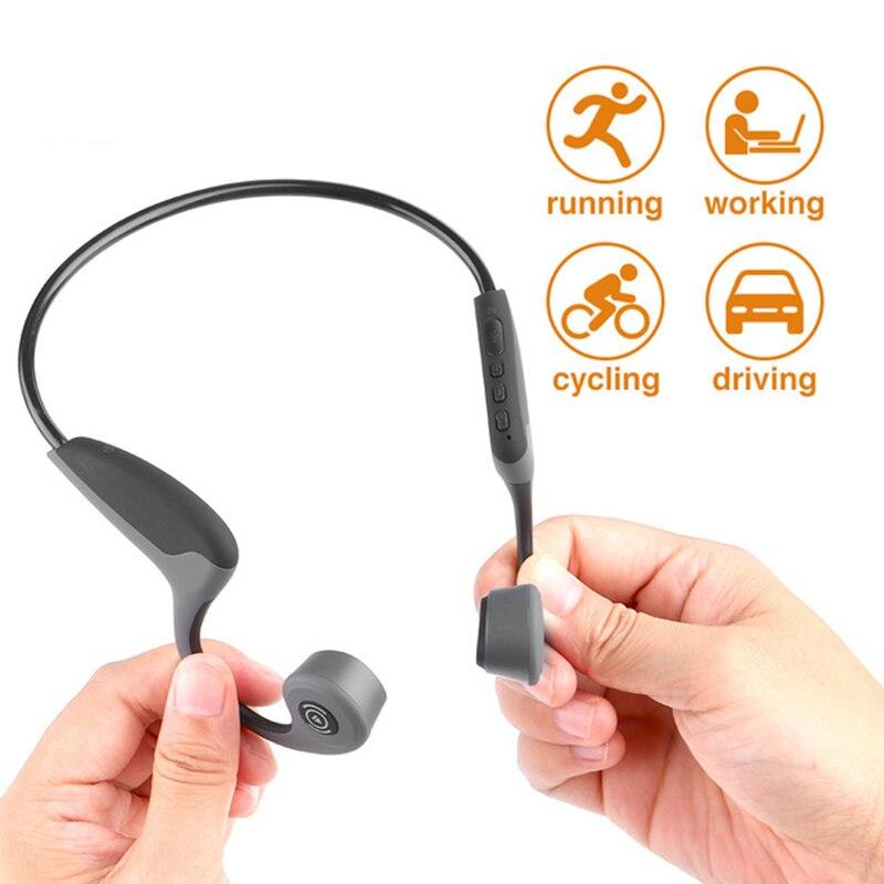 Bluetooth 5.0 casque sans fil écouteurs à Conduction osseuse casque de Sport en plein air avec micro