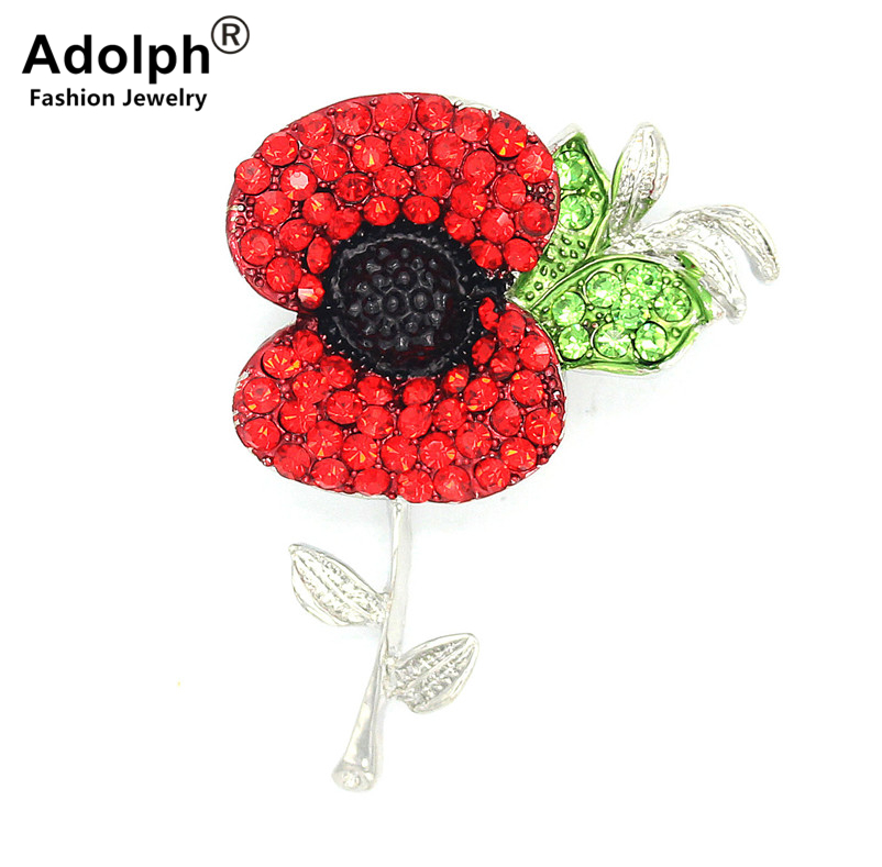 ADOLPH Cute Tulip Crystal Flower Red Cute Brooch Pins For Woman Clothers Dress Bride Plant Broochs Fashion Accessories Female