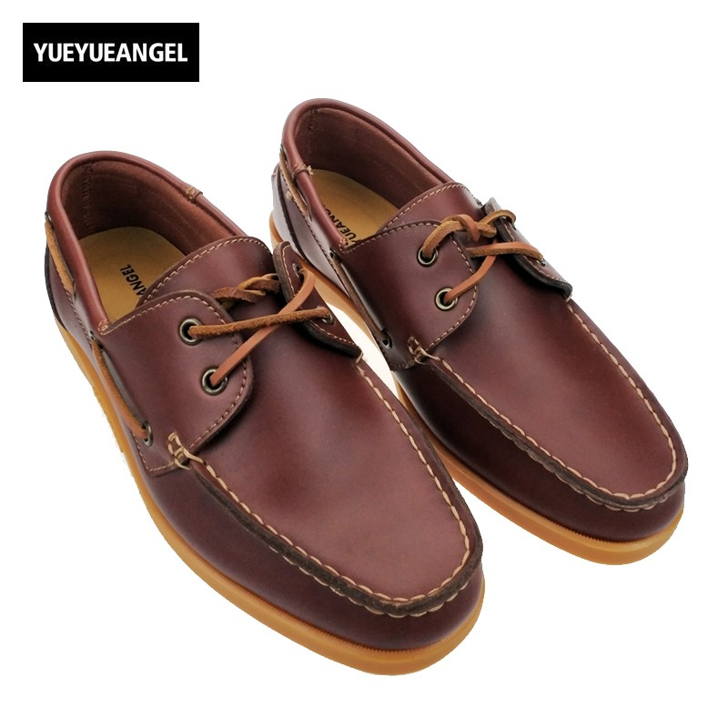 2017 men genuine leather boat shoes male british style brogue flat shoe fashion leisure handmade sapato masculino